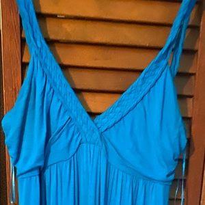 👗Teal braided strap sleeveless summer dress.👗